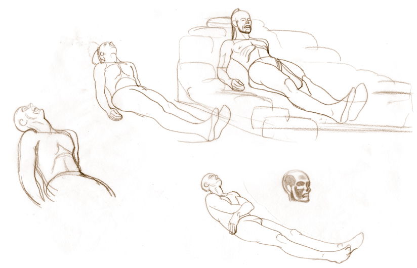 figure sketches-reclining
